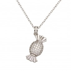 Wholesale Sterling Silver 925 Rhodium Plated Candy Necklace with CZ - STP01653