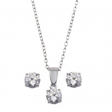 Wholesale Sterling Silver 925 Rhodium Plated Clear CZ Earrings and Necklace Set - STS00522CLR