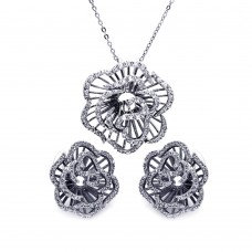 ** Closeout** Wholesale Sterling Silver 925 Outline CZ Flower Set - BGS00236