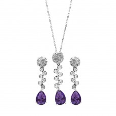 Wholesale Sterling Silver 925 Rhodium Plated Purple Teardrop and Clear Round CZ Hanging Stud Earring and Hanging Necklace Set - BGS00296