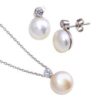 Wholesale Sterling Silver 925 Rhodium Plated Fresh Water Pearl Clear CZ Set - BGS00102
