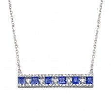 Wholesale Sterling Silver 925 Rhodium Plated Horizontal Bar Blue CZ Necklace - BGP01368BLU