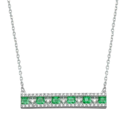 Wholesale Sterling Silver 925 Rhodium Plated Horizontal Bar Green CZ Necklace - BGP01368GRN