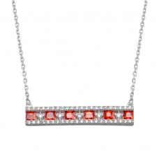 Wholesale Sterling Silver 925 Rhodium Plated Horizontal Bar Red CZ Necklace - BGP01368RED