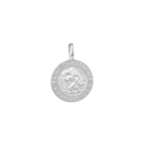 Wholesale Sterling Silver Matte Finish St. Christopher Charm 12mm - BSP00047