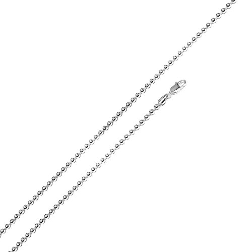 Wholesale Sterling Silver 925 Rhodium Plated Bead 180 Chain 1.8mm - CH112B RH