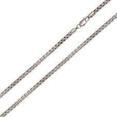 Wholesale Sterling Silver 925 Rhodium Plated Diamond Cut Slash Round Box Chains 2.4mm - CH212B RH