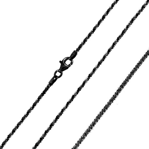 Wholesale Sterling Silver 925 Black Rhodium Plated Roc 025 Chain 1.4mm - CH251A BLK