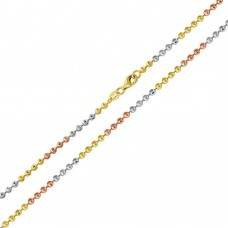 Wholesale Sterling Silver 925 Tri-Color Plated Wave Design Diamond Cut Bead Chains 2mm - CH262 MUL