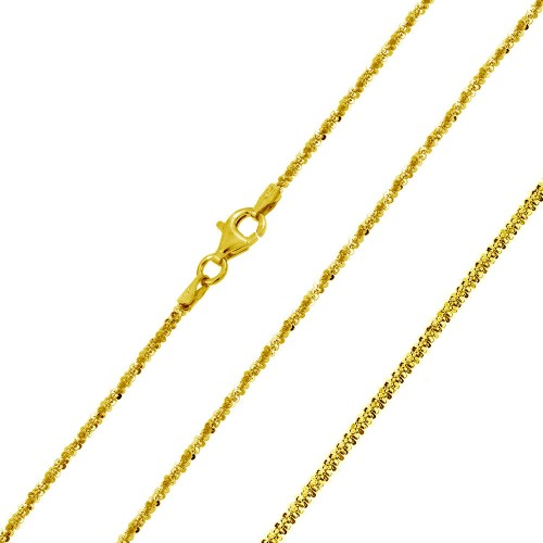 Wholesale Sterling Silver 925 Gold Plated Roc Chain 1.5mm - CH343 GP