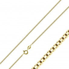 Wholesale Sterling Silver 925 Gold Plated Box Chains 0.8mm - CH345 GP
