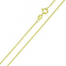 Wholesale Sterling Silver 925 Gold Plated Diamond Cut Anchor Chain 1.35mm - CH364A GP