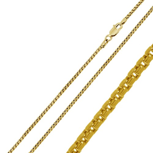 Wholesale Sterling Silver 925 Gold Plated Round Box Chain 2.1mm - CH371 GP