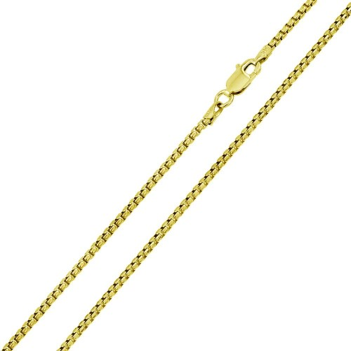 Wholesale Sterling Silver 925 Gold Plated Round Box Chain 2.6mm - CH371B GP