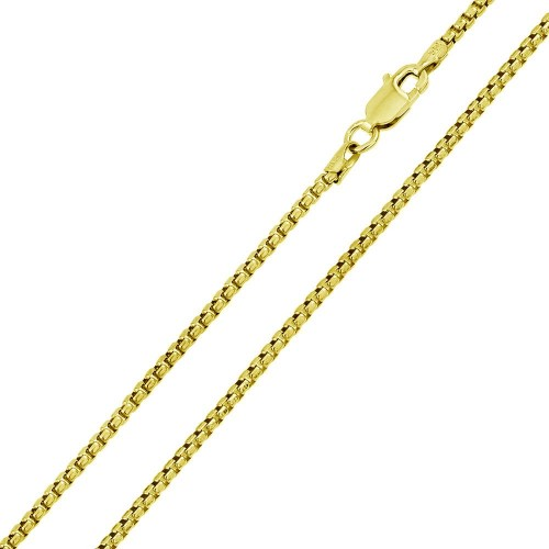 Wholesale Sterling Silver 925 Gold Plated Round Box Chain 3.3mm - CH371C GP