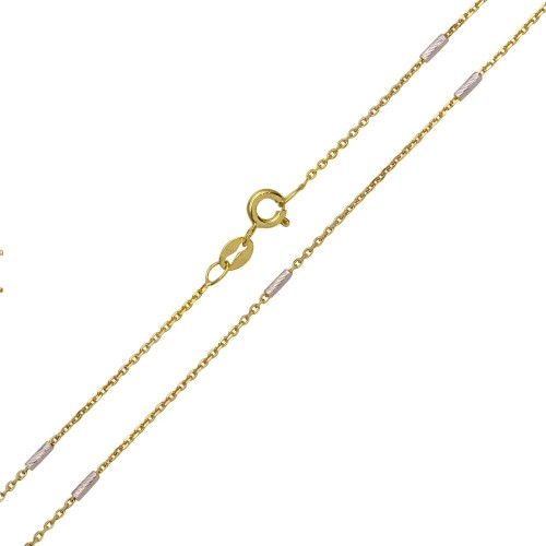 Wholesale Sterling Silver 925 Gold Plated Rolo Slash Tube Link Chains 1.3mm - CH372 GP