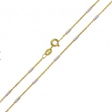 Wholesale Sterling Silver 925 Gold Plated Rolo Slash Multi Tube Link Chains 1.3mm - CH373 GP