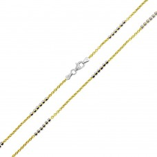 Wholesale Sterling Silver 925 Gold Plated DC 6 Beads Link  Chains 1.4mm - CH374 GP