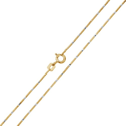 Wholesale Sterling Silver 925 Gold Plated 8 Sided Snake DC 025 Chain 0.8mm - CH381 GP