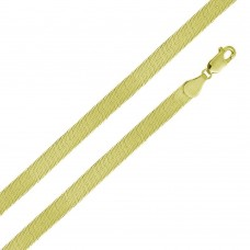 Wholesale Sterling Silver 925 14K Gold Plated Herring Bone Chain 6.7mm - CH385 GP