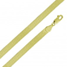 Wholesale Sterling Silver 925 14K Gold Plated Herring Bone Chain 9.6mm - CH387 GP