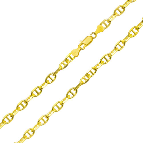 Wholesale Sterling Silver 925 Gold Plated Cross Marina Chain 6mm - CH396 GP