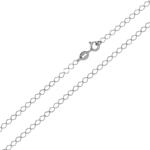 Wholesale Sterling Silver 925 Rhodium Plated DC Open Link Chain 2.7mm - CH421 RH