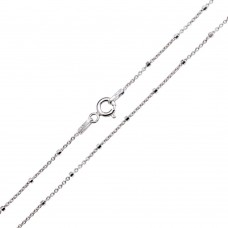 Wholesale Sterling Silver 925 Rhodium Plated Diamond Cut Beaded Chains 1.4mm - CH451 RH