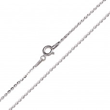 Wholesale Sterling Silver 925 Rhodium Plated Flat Oval Link Chain 1.4mm - CH454 RH