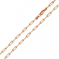 Wholesale Sterling Silver 925 Rose Gold Plated Paperclip Link Chain 2.8mm - CH461 RGP