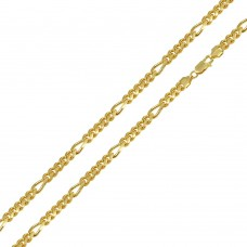 Wholesale Sterling Silver 925 Gold Plated Figaro Cuban Chain 4.9mm - CH463GP