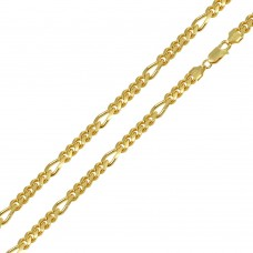 Wholesale Sterling Silver 925 Gold Plated Figaro Cuban Chain 6mm - CH465GP