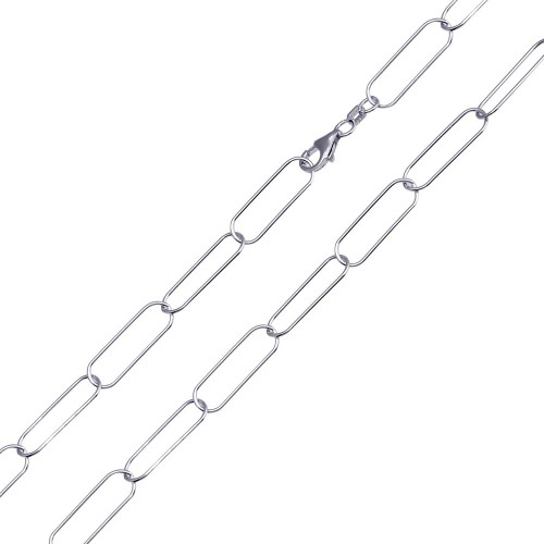 Wholesale Sterling Silver 925 Rhodium Plated Oval Paperclip Link Chain 6.5mm - CH468 RH