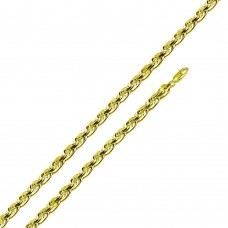 Wholesale Sterling Silver 925 Gold Plated Rope 080 Chain 3.8mm - CH528GP