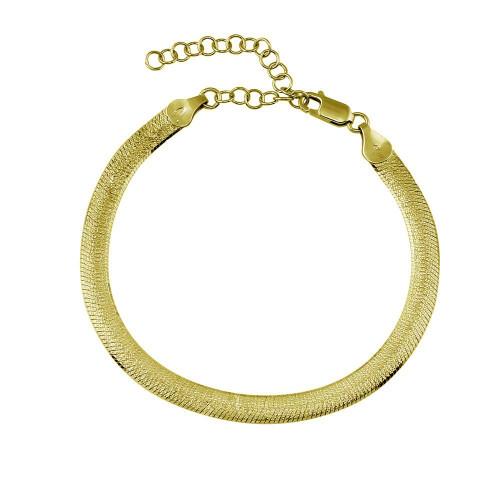 Wholesale Sterling Silver 925 Gold Plated Sparkle Dome Bracelet 5mm - CH542B GP