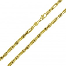 Wholesale Sterling Silver 925 Gold Plated Hand Made Figarope Chains 5.5mm - CH929 GP
