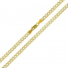 Wholesale Sterling Silver 925 Gold Plated 2 Toned DC Cuban Chain 4.3mm - CH932 GP