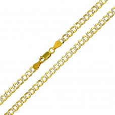Wholesale Sterling Silver 925 Gold Plated 2 Toned DC Cuban Chain 5mm - CH933 GP