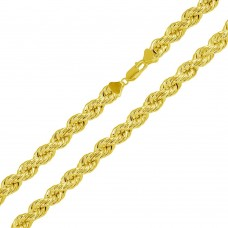 Wholesale Sterling Silver 925 Gold Plated Hollow Rope Chains 6.5mm - CHHW112 GP