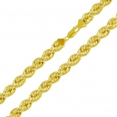 Wholesale Sterling Silver 925 Gold Plated Hollow Rope Chains 8mm - CHHW113 GP