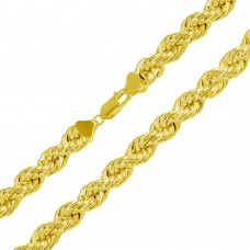 Wholesale Sterling Silver 925 Gold Plated Hollow Rope Chains 9.3mm - CHHW114 GP