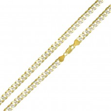 Wholesale Sterling Silver 925 Gold Plated 2 Toned DC Cuban Chain 7.2mm - CH938 GP