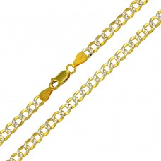 Wholesale Sterling Silver 925 Gold Plated 2 Toned DC Cuban Chain 5mm - CH938 GP