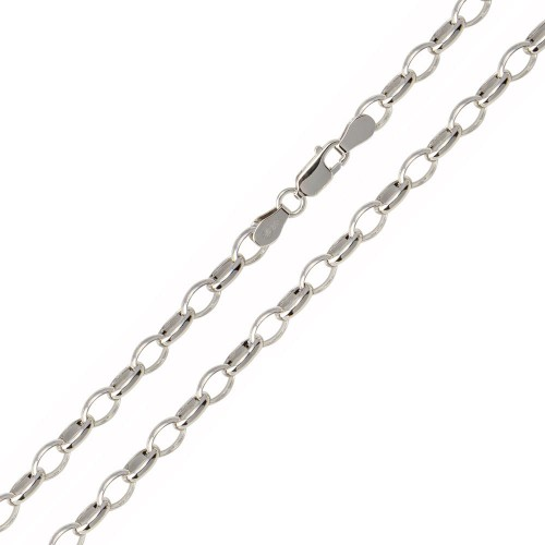 Wholesale Sterling Silver 925 Rhodium Plated Belcher Oval Link Chain 5mm - CH948 RH