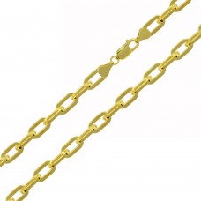 Wholesale Sterling Silver 925 Gold Plated Wide Oval D Cut Link Paper Clip Chain 5mm - CH949 GP