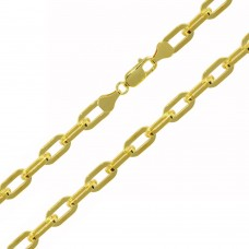 Wholesale Sterling Silver 925 Gold Plated Wide Oval D Cut Link Paper Clip Chain 6mm - CH950 GP