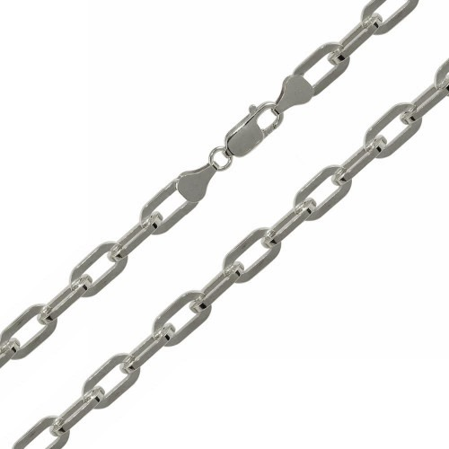Wholesale Sterling Silver 925 Rhodium Plated Wide Oval D Cut Paperclip Link Chain 6mm - CH950 RH