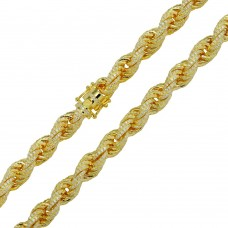 Wholesale Sterling Silver 925 Gold Plated CZ Encrusted Rope Chains 11mm - CHCZ101 GP