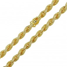 Wholesale Sterling Silver 925 Gold Plated CZ Encrusted Rope Chains 9.7mm - CHCZ100 GP