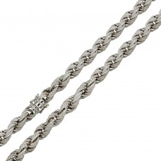 Wholesale Sterling Silver 925 Rhodium Plated CZ Encrusted Rope Bracelet 9.7mm - CHCZ100B RH